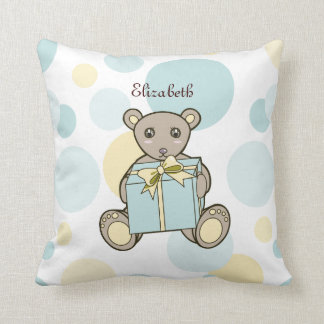 Cute Teddy Bear Kids Cartoon Personalised Name Throw Pillow