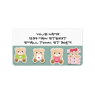 Cute teddy bear Pattern  on green background Address Label