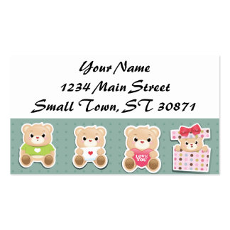 Cute teddy bear Pattern  on green background Pack Of Standard Business Cards