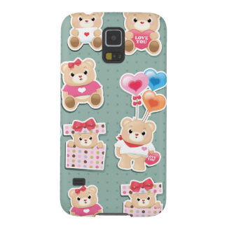 Cute teddy bear Pattern  on green background Galaxy S5 Covers