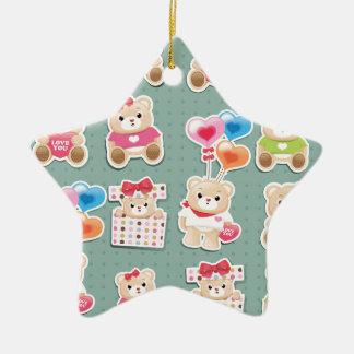 Cute teddy bear Pattern  on green background Ceramic Star Ornament