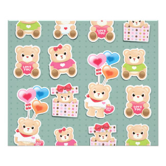 Cute teddy bear Pattern on green background Photograph