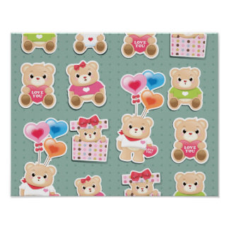 Cute teddy bear Pattern on green background Poster