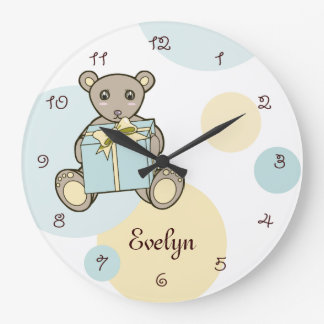 Cute Teddy Bear Personalised Kids Name Pastel Clock