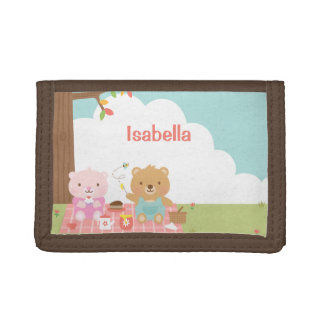 Cute Teddy Bear Picnic Party Outdoor For Kids Trifold Wallet