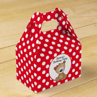 Cute Teddy Bear Polka Dots Birthday Favour Box