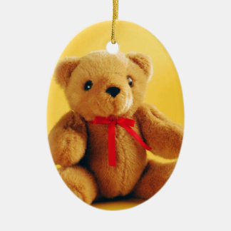 Cute teddy bear print oval ornament