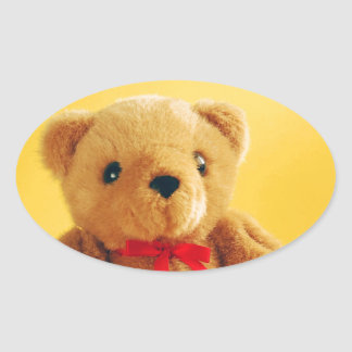 Cute teddy bear print oval sticker