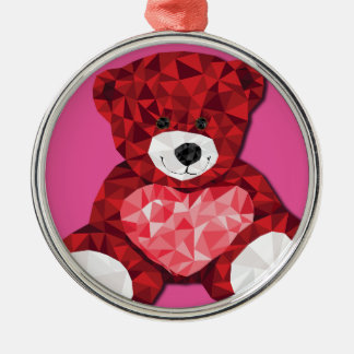 Cute teddy bear Silver-Colored round decoration