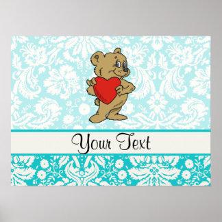 Cute Teddy Bear Teal Print