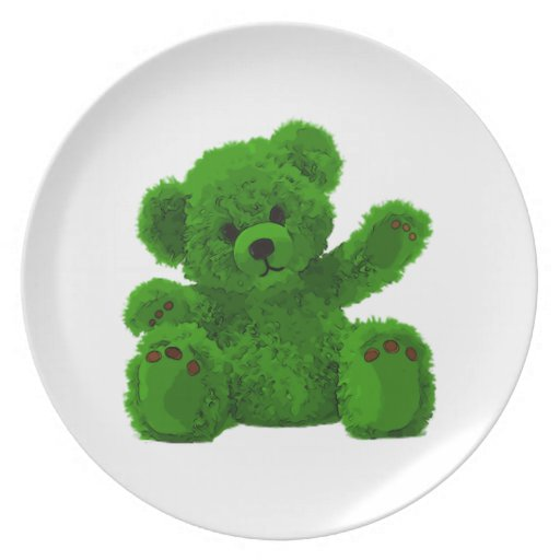 Cute teddy Bear, teddy bear, green Plates