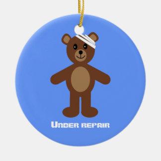 Cute Teddy Bear Under Repair Recovery Anniversary Ornament