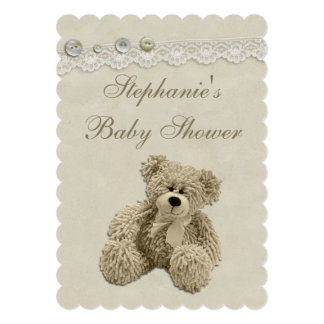 Cute Teddy Bear Vintage Lace Baby Shower Card