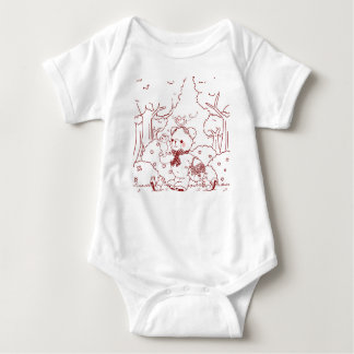 Cute Teddy Bear with Baby Bear Picking Berries Baby Bodysuit