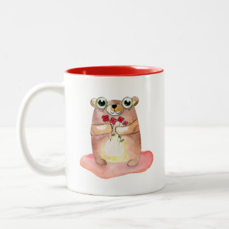 Cute Teddy Bear with Flowers Collectable Two-Tone Coffee Mug