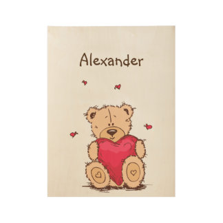 Cute teddy bear with hearts and custom text wood poster