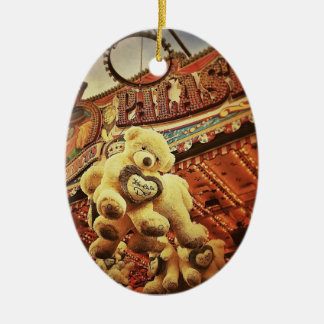 Cute Teddy Bears at the Carnival Ceramic Oval Decoration