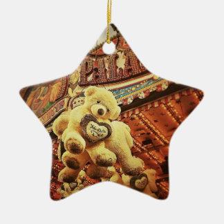 Cute Teddy Bears at the Carnival Ceramic Star Decoration