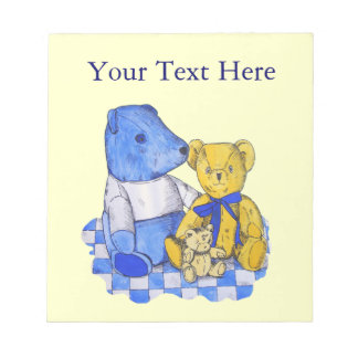 cute teddy bears blue and white check picnic cloth notepad