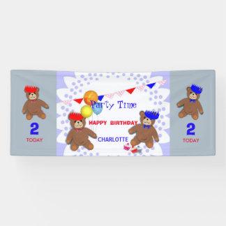 Cute Teddy Bears Picnic Fun Kids Birthday Party Banner