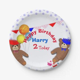 Cute Teddy Bears Picnic Fun Kids Birthday Party Paper Plate