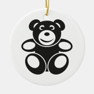 Cute Teddy with a Smile Round Ceramic Decoration