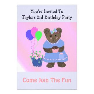 Cute Teddybear Birthday Invitation