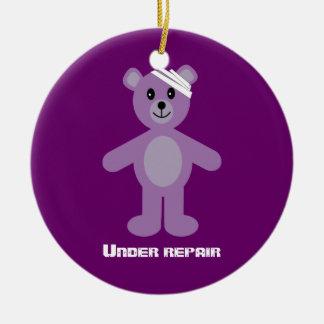 Cute TeddyBear Under Repair Recovery Anniversary Ceramic Ornament