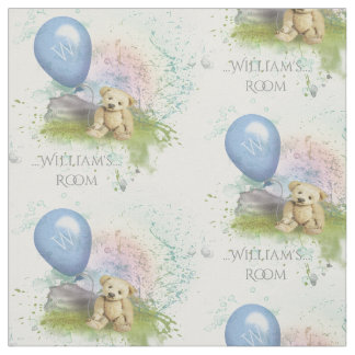 Cute Teddy's Blue Balloon Baby Boy Nursery Fabric