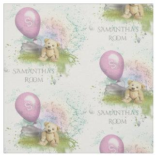 Cute Teddy's Pink Balloon Baby Girl Nursery Fabric