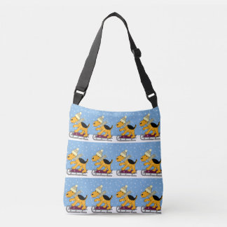 Cute Terrier Puppy Dogs on Sleds Cross Body Tote