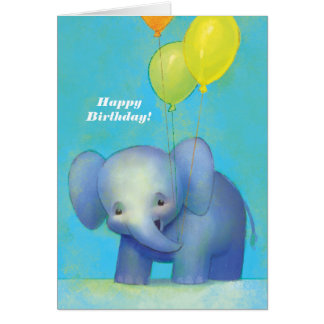 Cute Textured Baby Cartoon Elephant with Balloons Card
