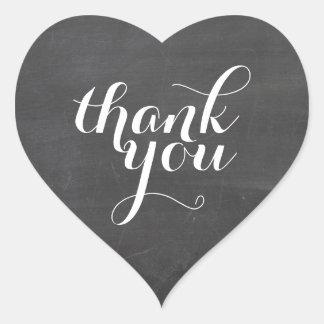 CUTE THANK YOU HEART SEAL modern plain chalkboard Heart Sticker