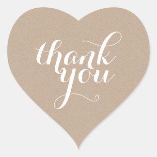CUTE THANK YOU HEART SEAL modern plain eco kraft Heart Sticker