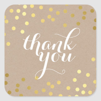 CUTE THANK YOU SEAL modern gold confetti eco kraft