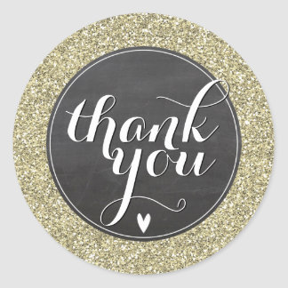 CUTE THANK YOU SEAL modern simple glitter gold