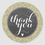 CUTE THANK YOU SEAL modern simple glitter gold Round Sticker