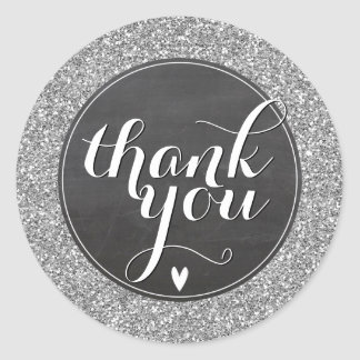 CUTE THANK YOU SEAL modern simple glitter silver Round Sticker