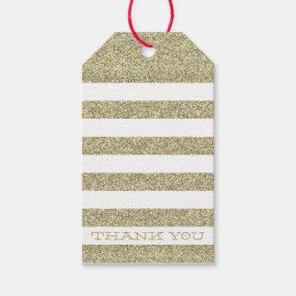 CUTE THANK YOU TAG modern stripe gold glitter