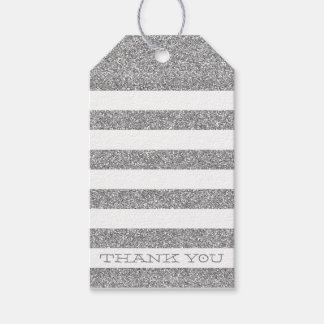 CUTE THANK YOU TAG modern stripe silver glitter