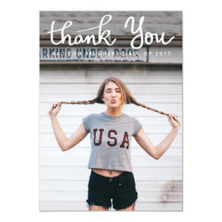 Cute Thank You Typography Script Graduate Photo Card