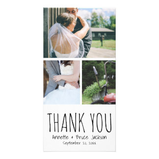 Cute Thank You Typography Script Wedding Customized Photo Card