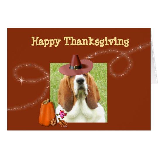 Cute Thanksgiving Card w/Basset, Pumpkin, & Pie
