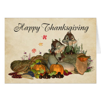 Cute Thanksgiving Card With Cornucopia, Squirrels