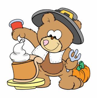 cute thanksgiving pilgrim bear eating pumpkin pie standing photo sculpture