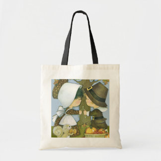 Cute Thanksgiving Pilgrim Wishes Tote Bag