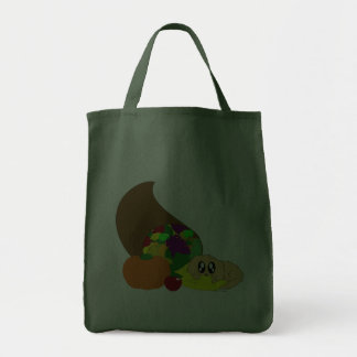Cute Thanksgiving Puppy with Cornucopia Canvas Bag