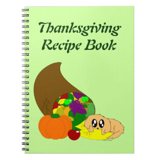 Cute Thanksgiving Puppy with Cornucopia Note Books