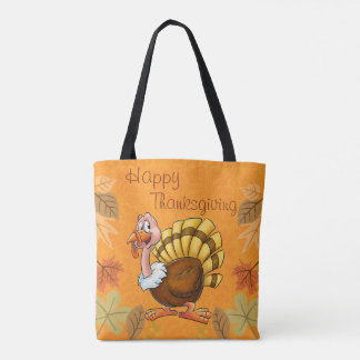 Cute thanksgiving tote cartoon bag with turkey