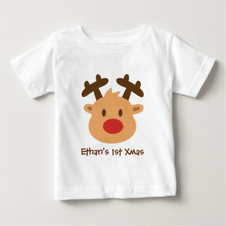 Cute the red nosed reindeer 1st Xmas Baby T-Shirt